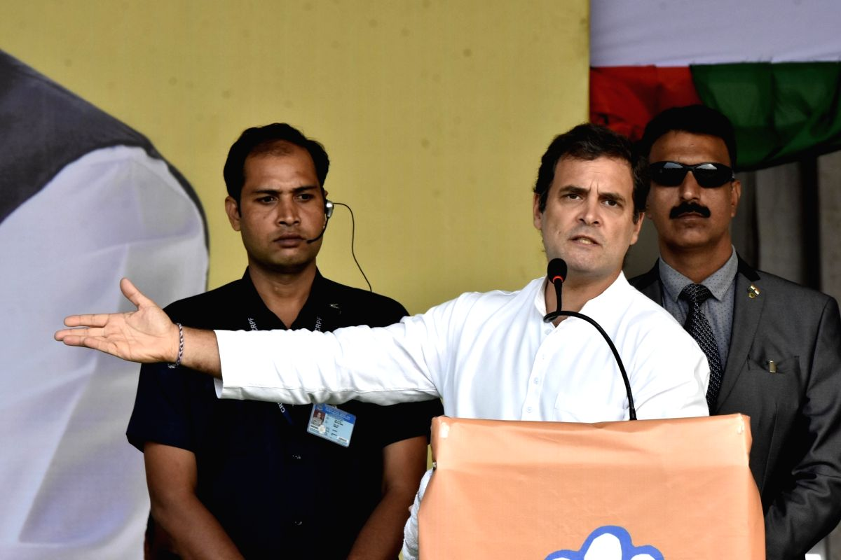 Mesra: Congress leader Rahul Gandhi addresses during an election campaign rally ahead of Jharkhand Assembly Election at Mesra village in Kanke Block of Ranchi district, Jharkhand on Dec 9, 2019.