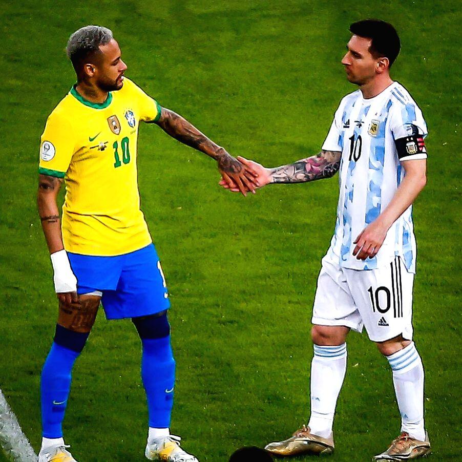 Messi consoles Neymar after Copa America win.
