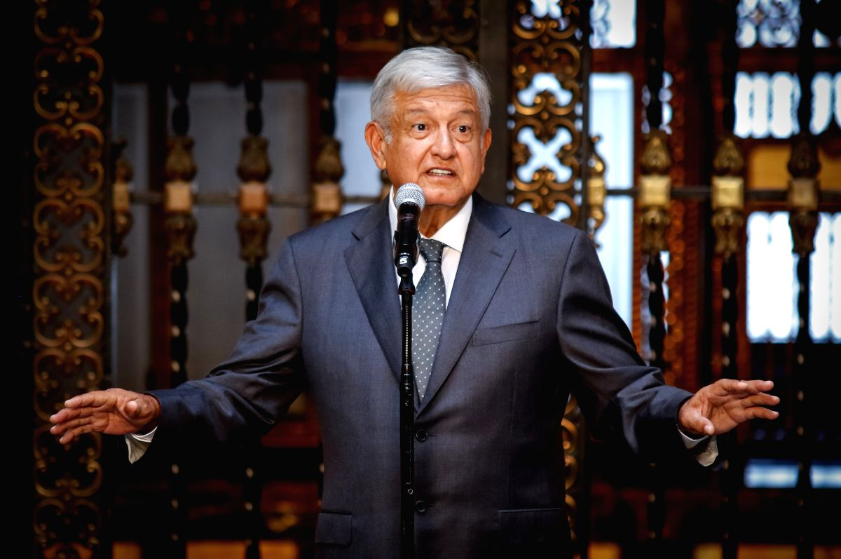 MEXICO CITY, July 4, 2018 (Xinhua) -- Mexico's president-elect Andres Manuel Lopez Obrador delivers a speech after his meeting with Mexican President Enrique Pena Nieto, in Mexico City, capital of Mexico, July 3, 2018. Mexico's president-elect Andres
