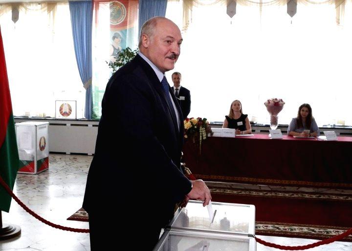 Minsk, Aug. 14 (Xinhua) Belarusian President Alexander Lukashenko casts his ballot at a polling station in Minsk, Belarus, Aug. 9, 2020. (Photo by Henadz Zhinkov/Xinhua/IANS)