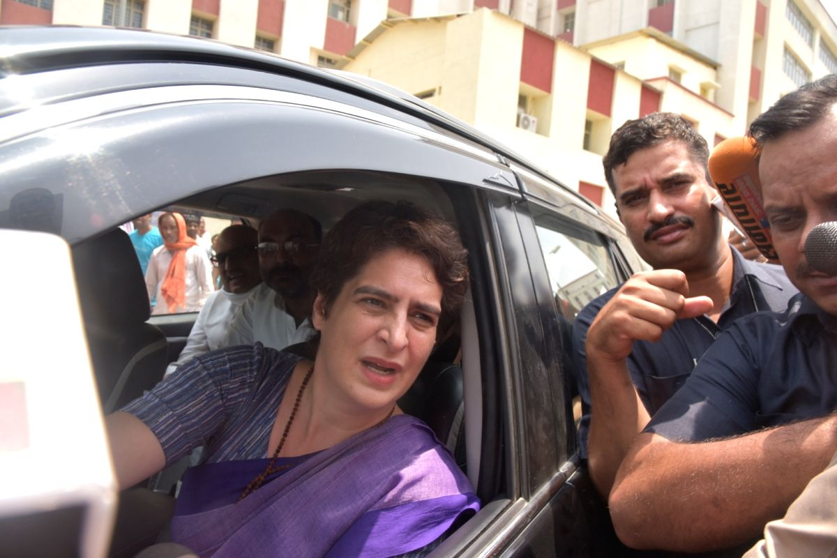 Mirzapur: Congress General Secretary Priyanka Gandhi stopped by the police while she was proceeding for Ubhbha village in Mirzapur after meeting the injured from the Gond community at the Banaras Hindu University Trauma Centre in Varanasi, on July 19
