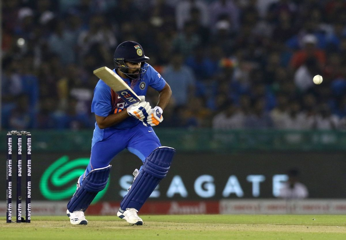 India's Rohit Sharma in action during the 2nd T20I match between India and South Africa at Punjab Cricket Association IS Bindra Stadium in Mohali on Sep 18, 2019. (Photo: Surjeet Yadav/IANS)