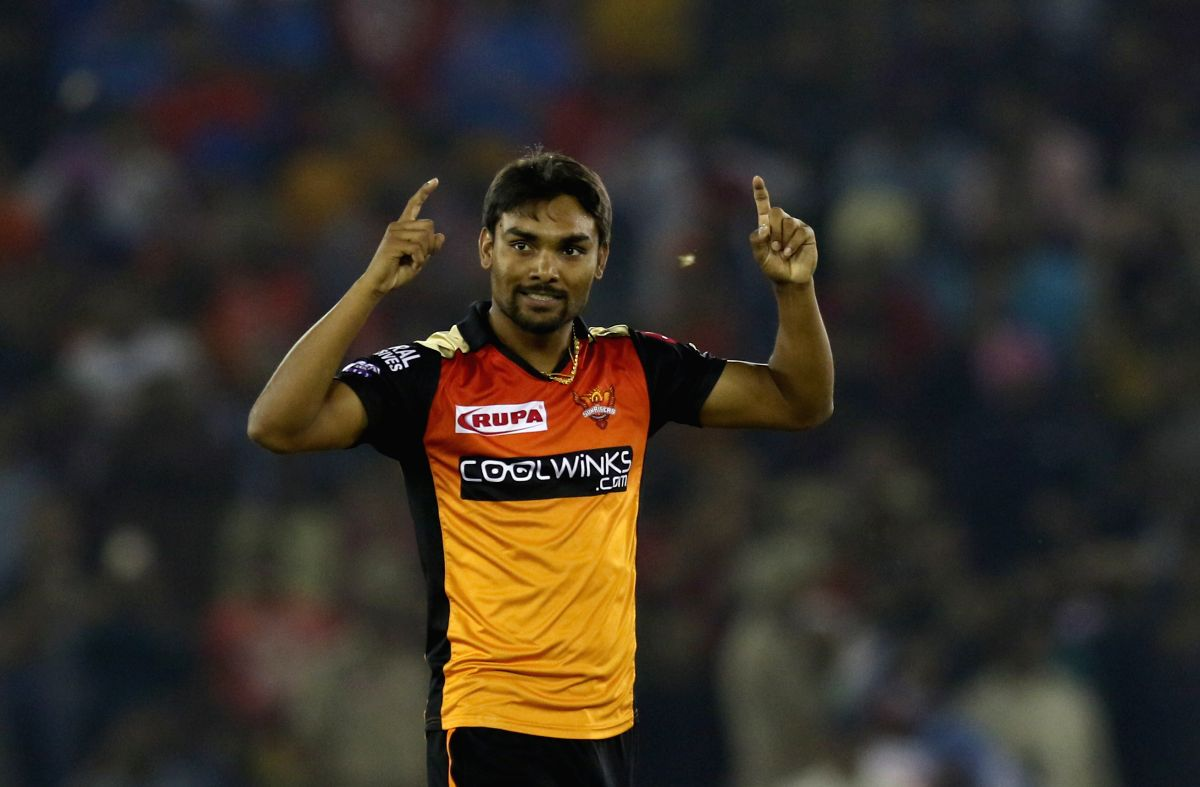Mohali: Sunrisers Hyderabad's Sandeep Sharma celebrates fall of a wicket during the 22nd match of IPL 2019 between Kings XI Punjab and Sunrisers Hyderabad at Punjab Cricket Association IS Bindra Stadium in Mohali on April 8, 2019. (Photo: Surjeet Yad
