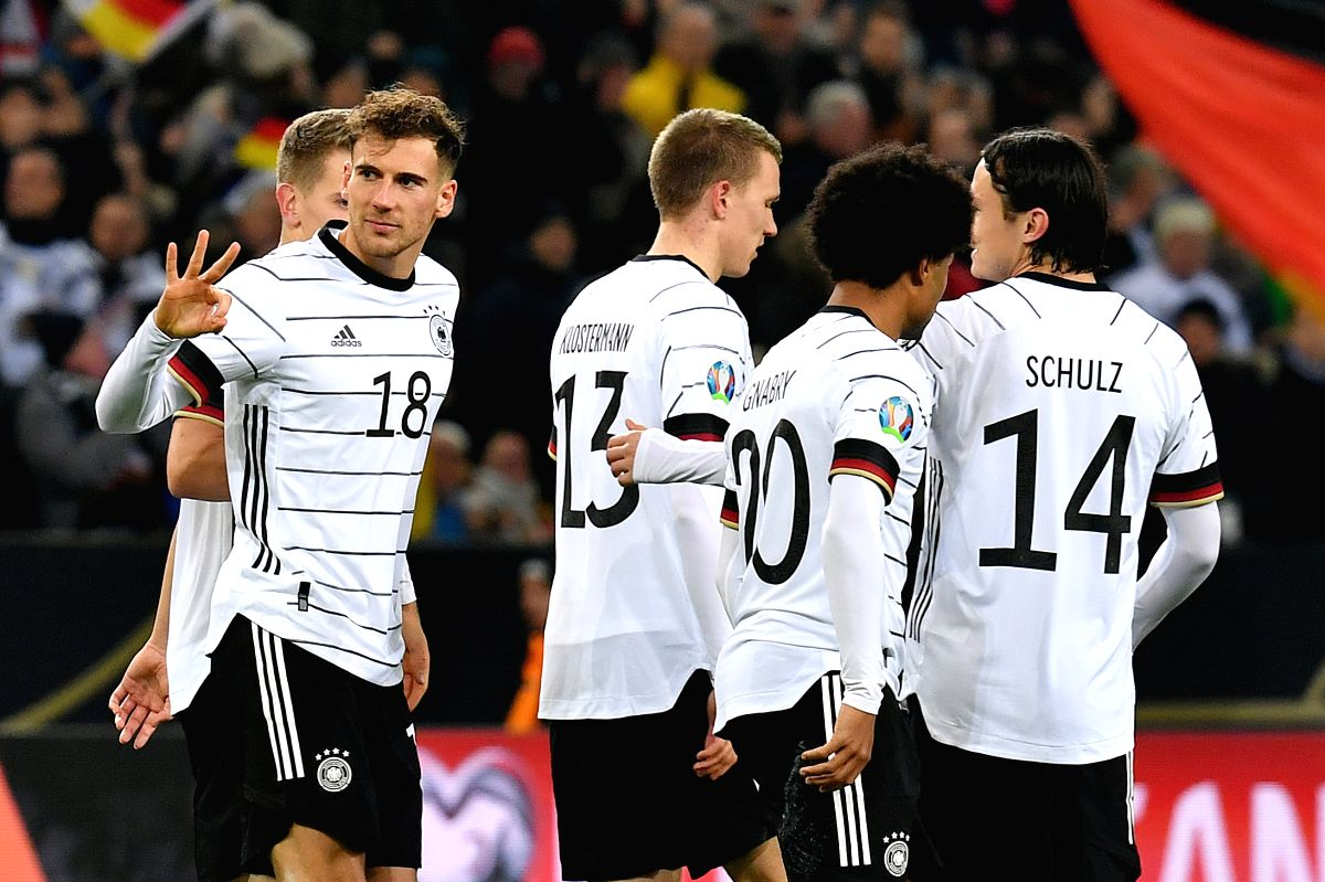 MONCHENGLADBACH, Nov. 17, 2019 (Xinhua) -- Leon Goretzka (2nd L) of Germany celebrates after scoring during the UEFA Euro 2020 group C qualifying match against Belarus in Monchengladbach, Germany, Nov. 16, 2019. Germany won 4-0. (Photo by Ulrich Hufn