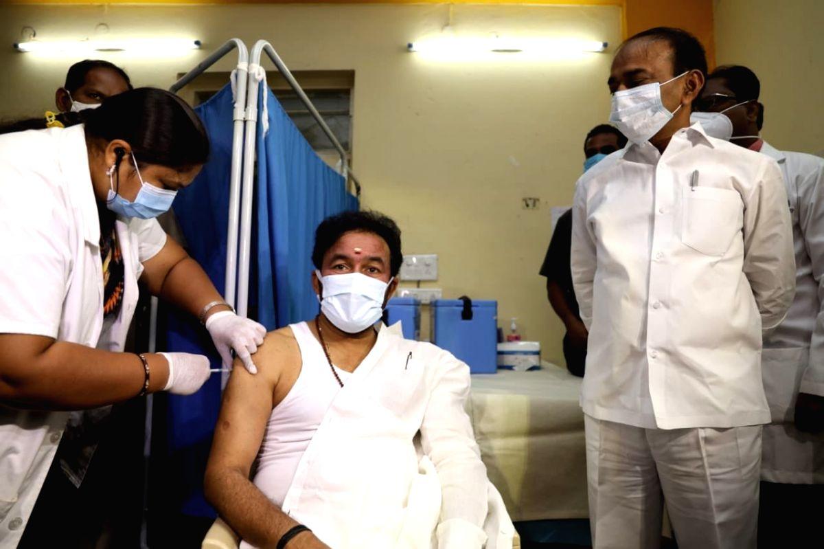 MoS Kishan Reddy takes Covid vaccine.