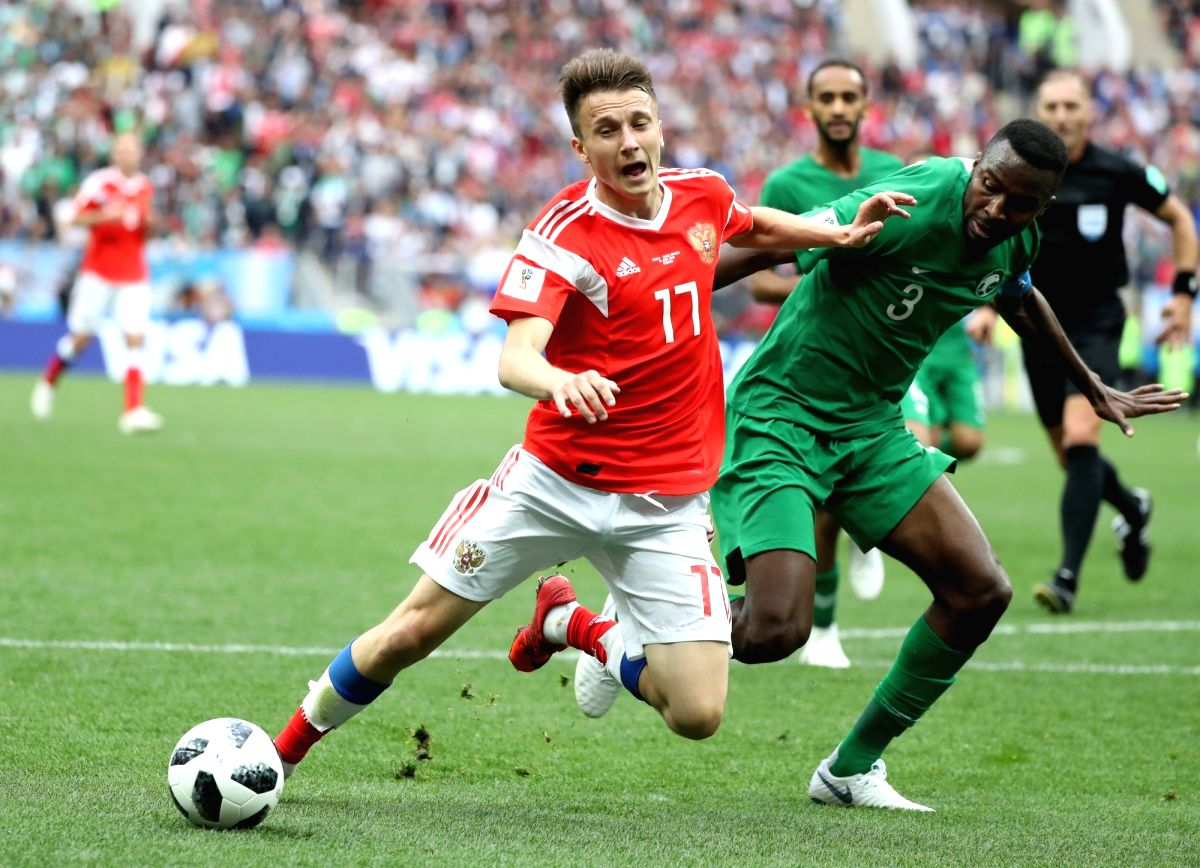 Aleksandr Golovin of Russia got the first yellow in FIFA 2018 in the match against Saudi Arabia.