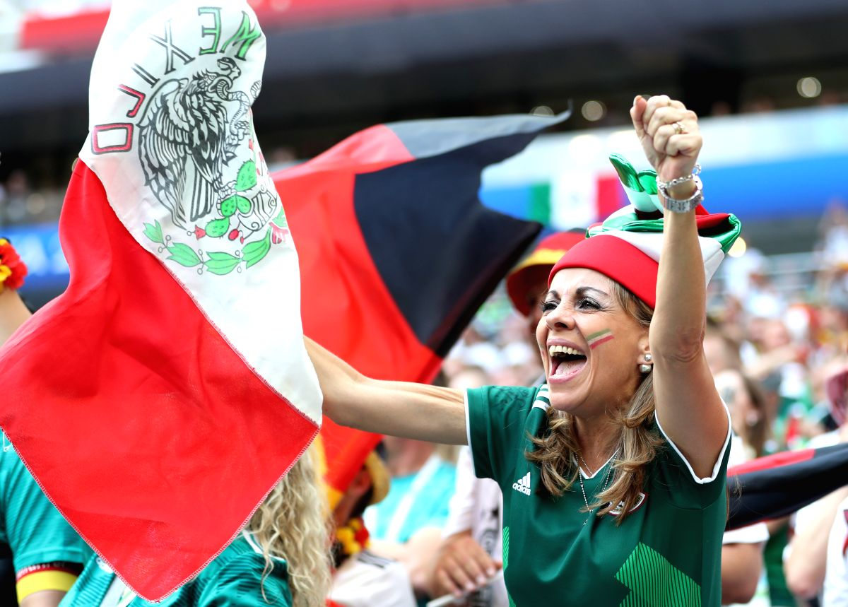 Mexico fans cheer on in the match against Germany