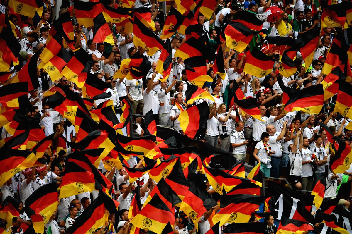 Stadium burst out in colors as  supporters cheer on Germany