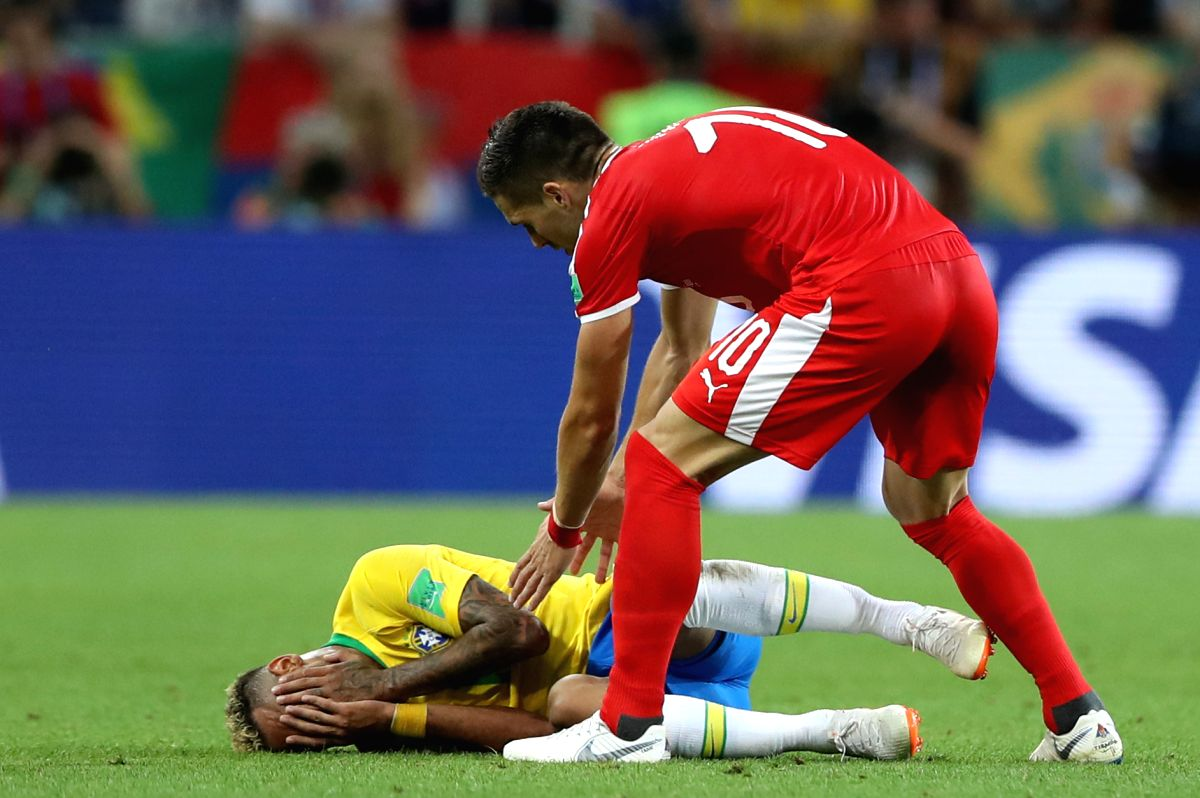 Here's some football drama highlighting Neymar's playacting  and Serbia's Dusan Tadic's reaction