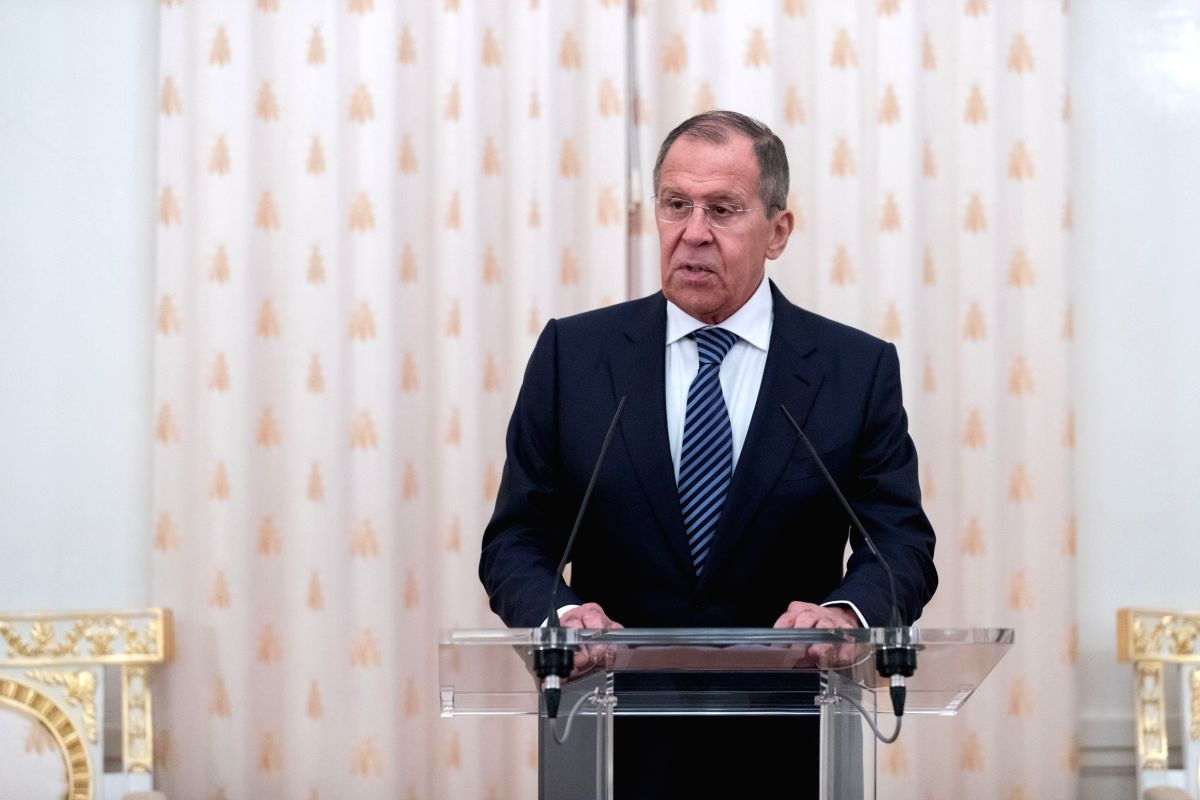 MOSCOW, Oct. 1, 2019 (Xinhua) -- Russian Foreign Minister Sergei Lavrov speaks during the opening ceremony of an exhibition that celebrates the upcoming 70th anniversary of the establishment of diplomatic relations between China and Russia in Moscow,