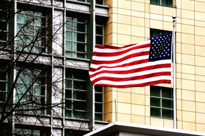 Moscow: The US Embassy in Moscow, Russia, on April 16, 2021. (Xinhua/Evgeny Sinitsyn/IANS)
