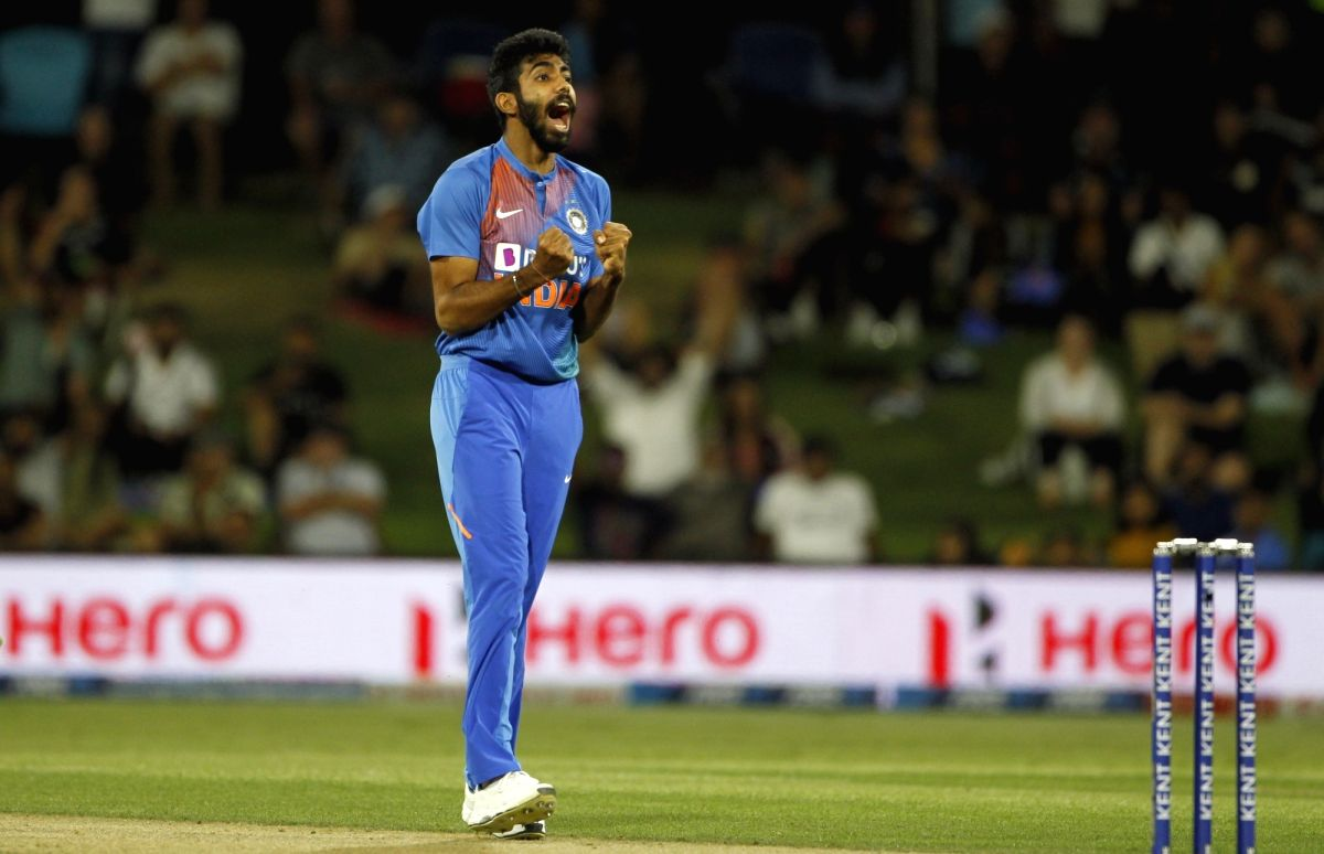 Mount Maunganui: India's Jasprit Bumrah celebrates the wicket of  Martin Guptill during the 5th T20I between India and New Zealand at Bay Oval, Mount Maunganui in New Zealand on Feb 2, 2020.