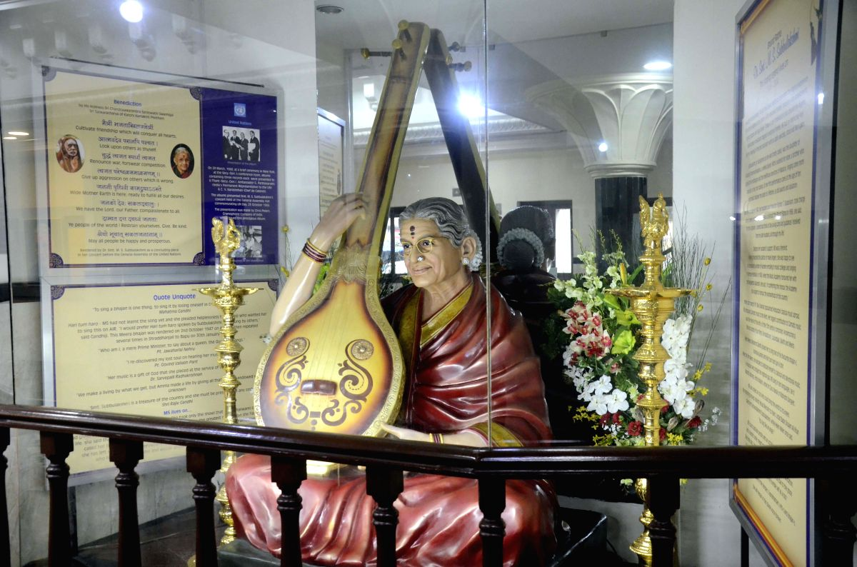 Mumbai: A view of a art gallery which is installed for a four-day centenary festival to celebrate the birth anniversary of the legendary carnatic musician, late M S Subbulakshmi in Mumbai on Sep 11, 2015.
