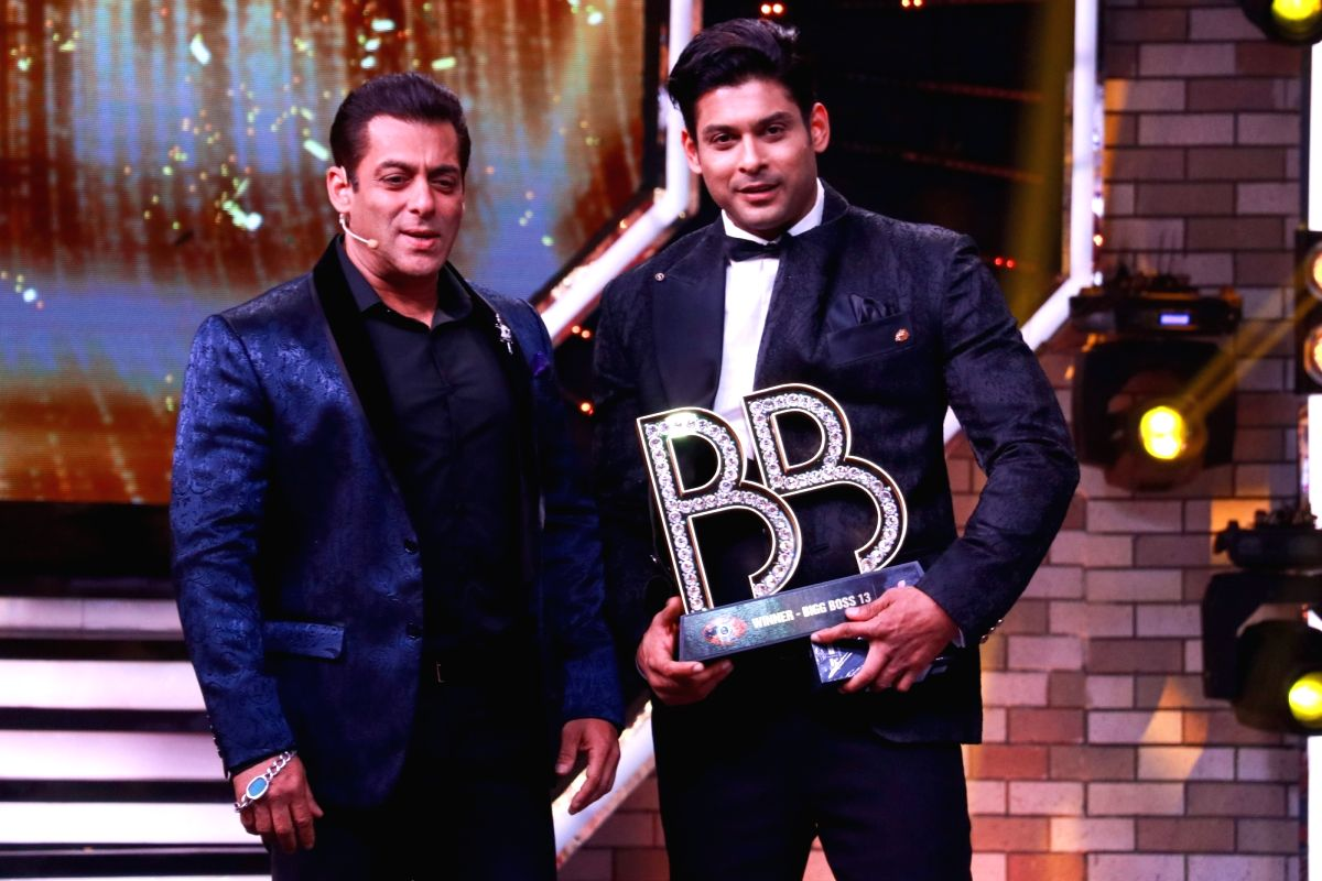 Mumbai: Actor and Bigg Boss 13 host Salman Khan with winner Siddharth Shukla at the grand finale of the reality show, in Mumbai on Feb 16, 2020.