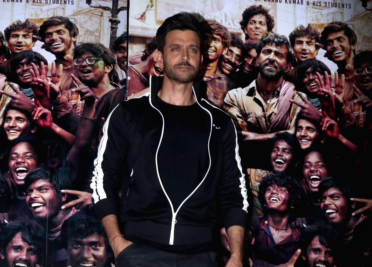 "Mumbai: Actor Hrithik Roshan at the screening of his upcoming film ""Super 30"" in Mumbai, on July 10, 2019."