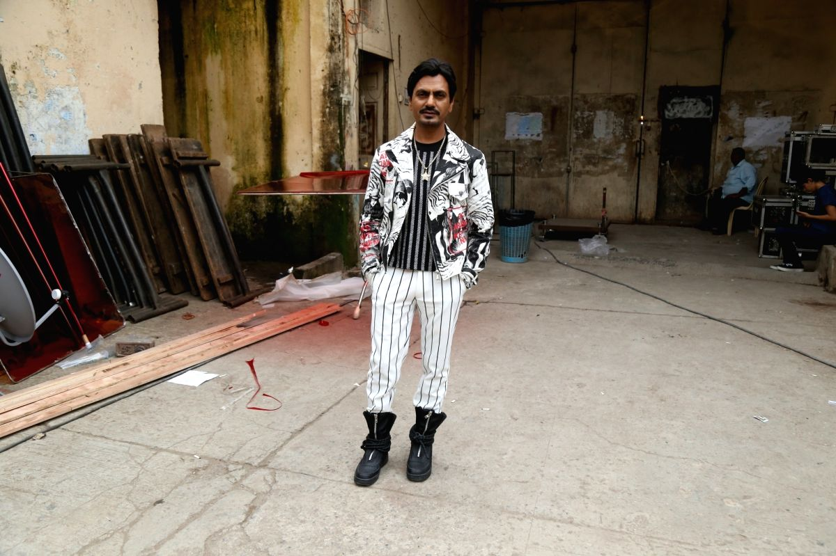 "Mumbai: Actor Nawazuddin Siddiqui during the shooting of a song for the upcoming film ""Motichoor Chaknachoor"" in Mumbai, on Sep 27, 2019."