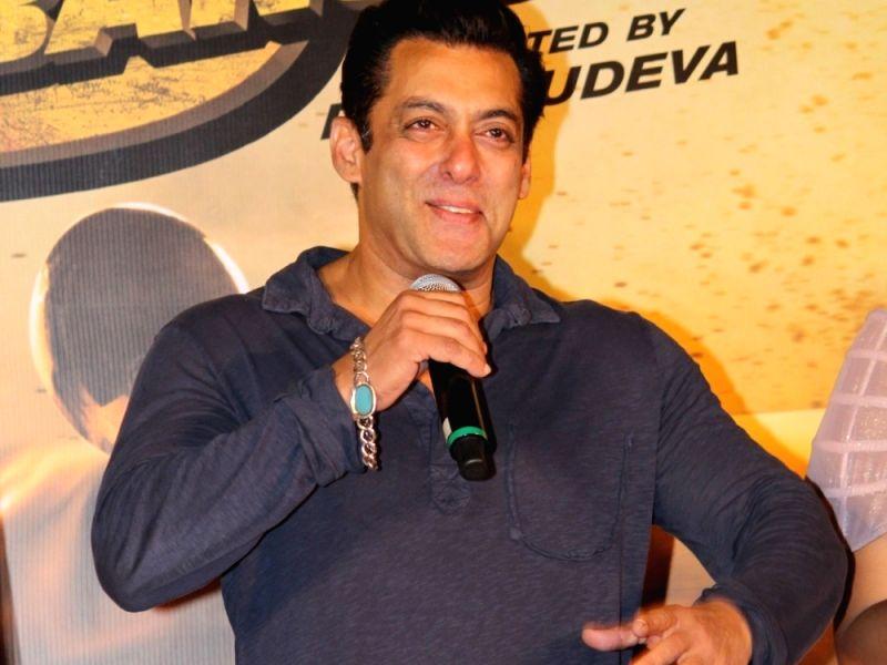 "Mumbai: Actor Salman Khan at the trailer launch of his upcoming film ""Dabangg 3"" in Mumbai on Oct 23, 2019."