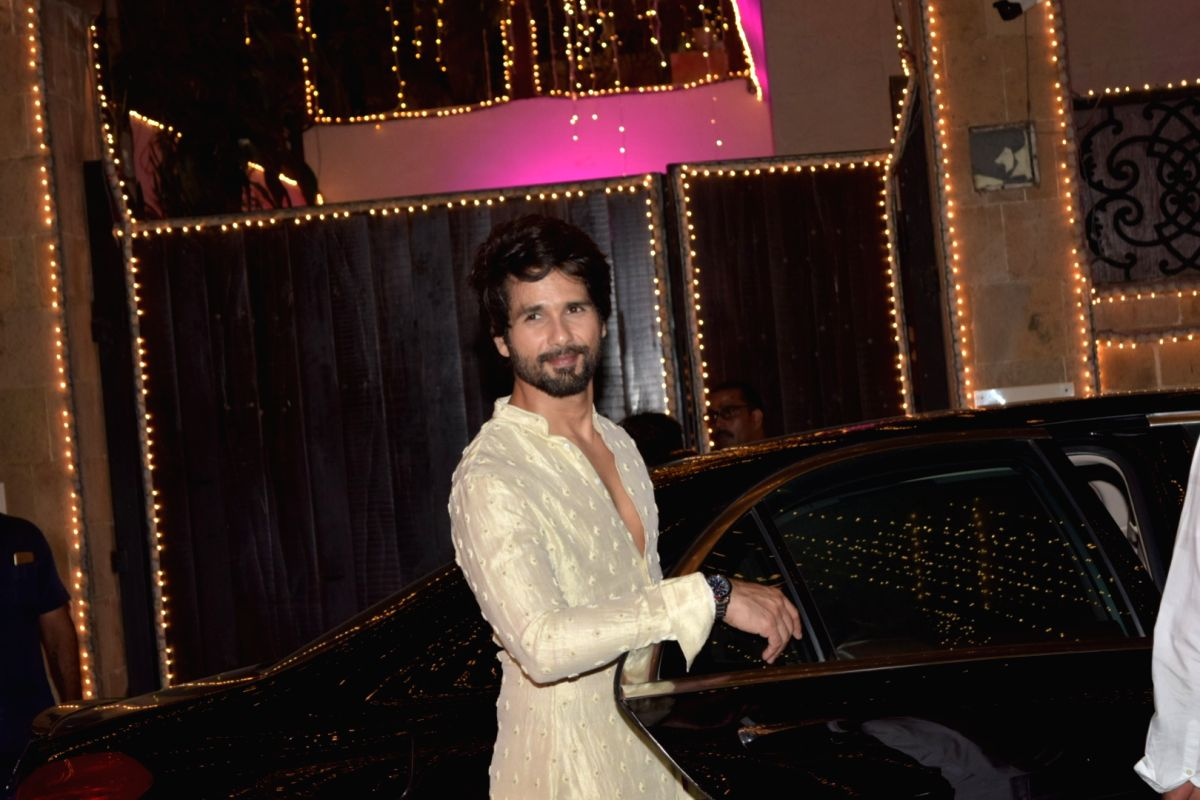Mumbai: Actor Shahid Kapoor at actor Anil Kapoor's Diwali bash in Mumbai on Oct 27, 2019.