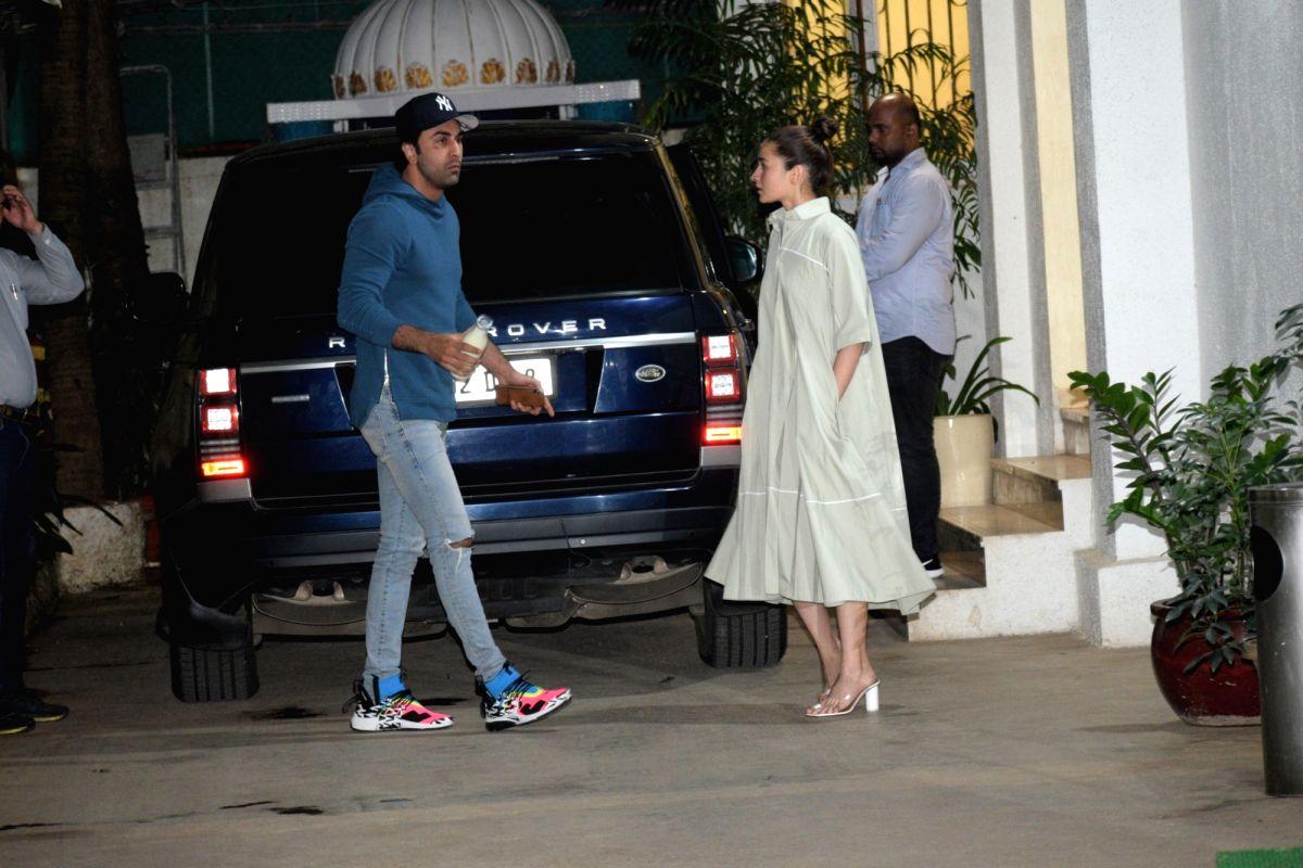 "Mumbai: Actors Ranbir Kapoor and Alia Bhatt at the screening of recently released film ""Mission Mangal"" in Mumbai on Aug 25, 2019."