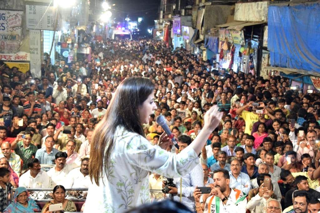 Actress and Congress' Lok Sabha candidate from Mumbai North, Urmila Matondkar addresses during an election rally in Mumbai's Kandivali