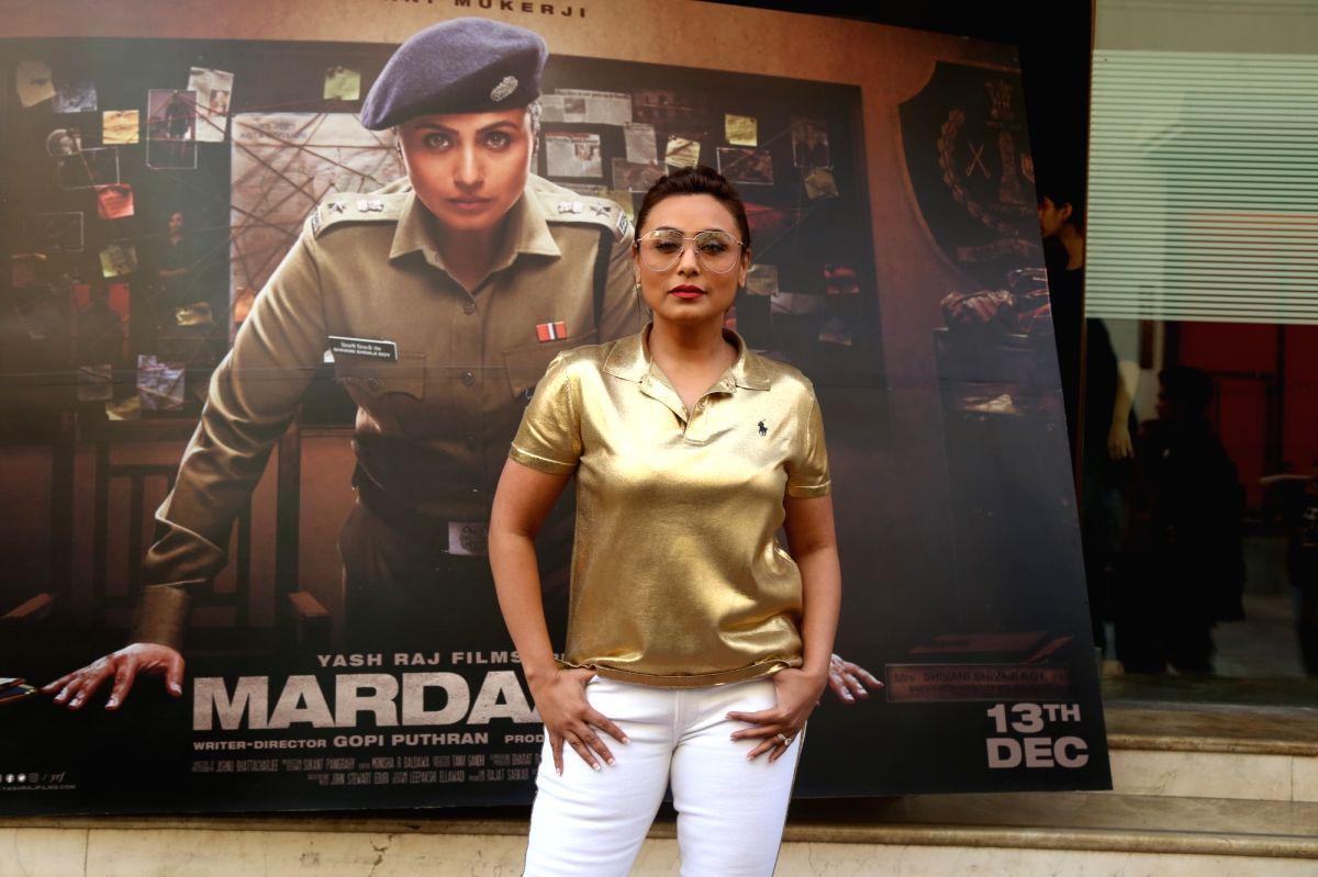 "Mumbai: Actress Rani Mukerji on the sets of actress Neha Dhupia's chat show ""#NoFilterNeha"" Season 4 in Mumbai on Dec 10, 2019."