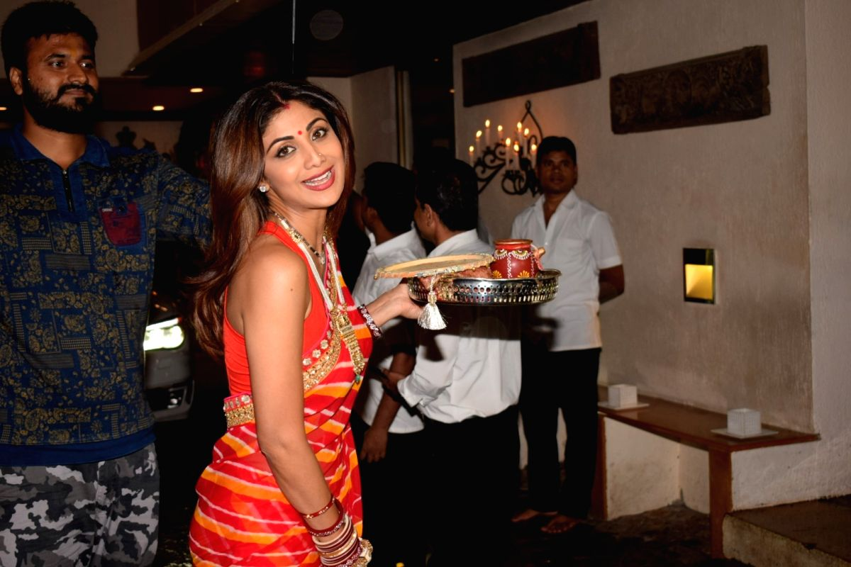"Mumbai:Actress Shilpa Shetty Kundra during the celebration of ""Karva Chauth"" at Anil Kapoor's residence in Mumbai on Oct 8, 2017."