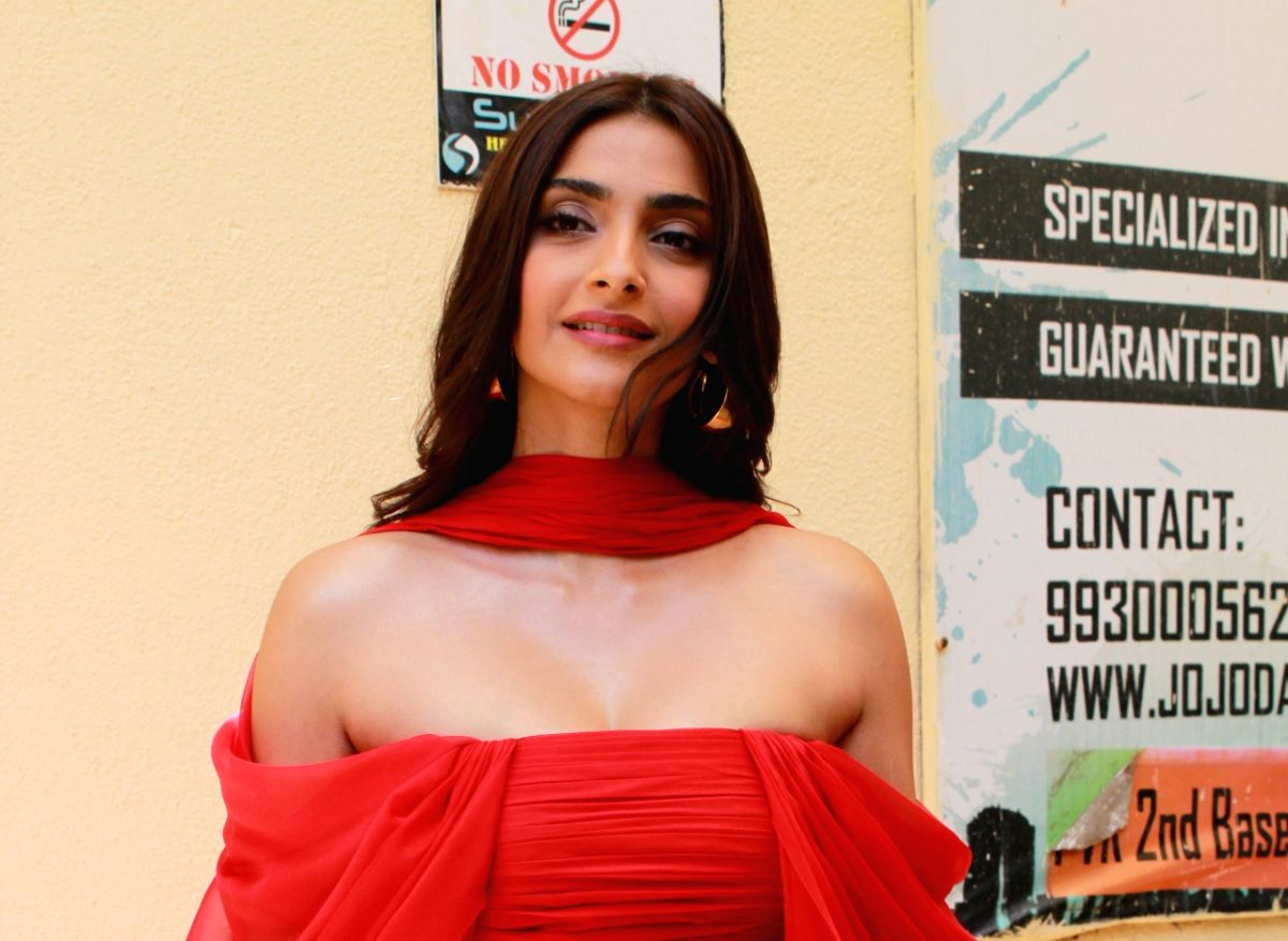 "Actress Sonam Kapoor at the trailer launch of her upcoming film ""The Zoya Factor"""