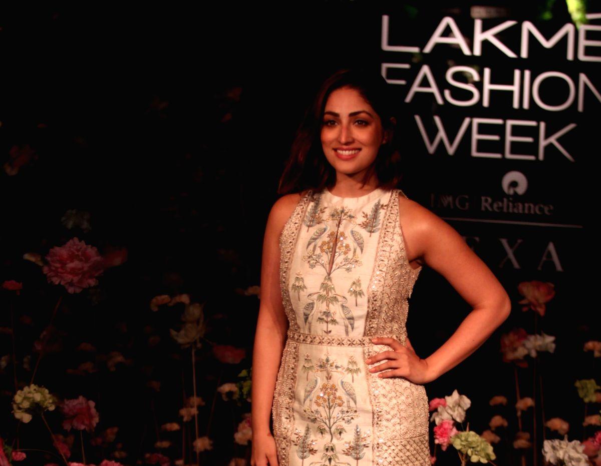Mumbai: Actress Yami Gautam showcases fashion designer Anita Dogre's creation on Day 2 of the Lakme Fashion Week (LFW) Summer/Resort 2019 in Mumbai, on Jan 31, 2019.