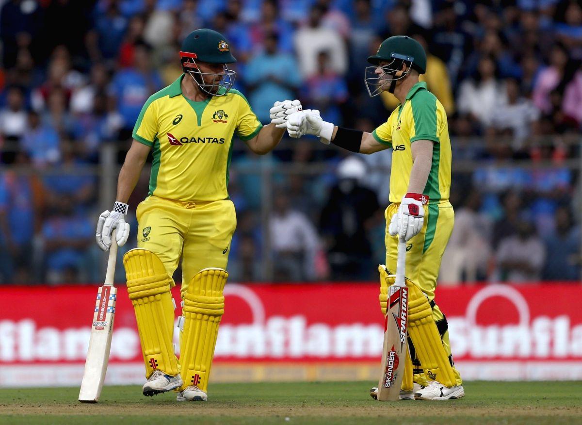 Mumbai: Australia's Aaron Finch and David Warner during the first ODI between India and Australia at the Wankhede Stadium in Mumbai on Jan 14, 2020. (Photo: Surjeet Yadav/IANS)
