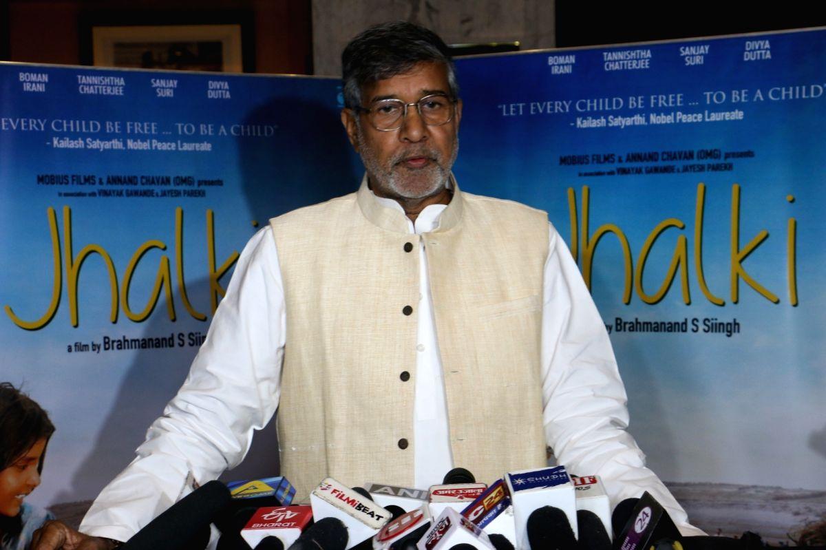 "Mumbai: Child Rights activist and Nobel laureate Kailash Satyarthi during the screening of film ""Jhalki"" in Mumbai on Sep 7, 2019."