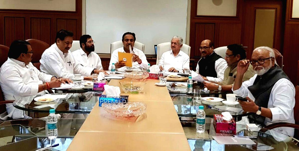 Mumbai: Congress leaders Vijay Wadettiwar, Prithviraj Chavan, Manikrao Thackeray; NCP leaders Jayant Patil, Nawab Malik, Chhagan Bhujbal; Shiv Sena leaders Eknath Shinde and Subhash Desai during a joint party meeting to discuss issues between them fo