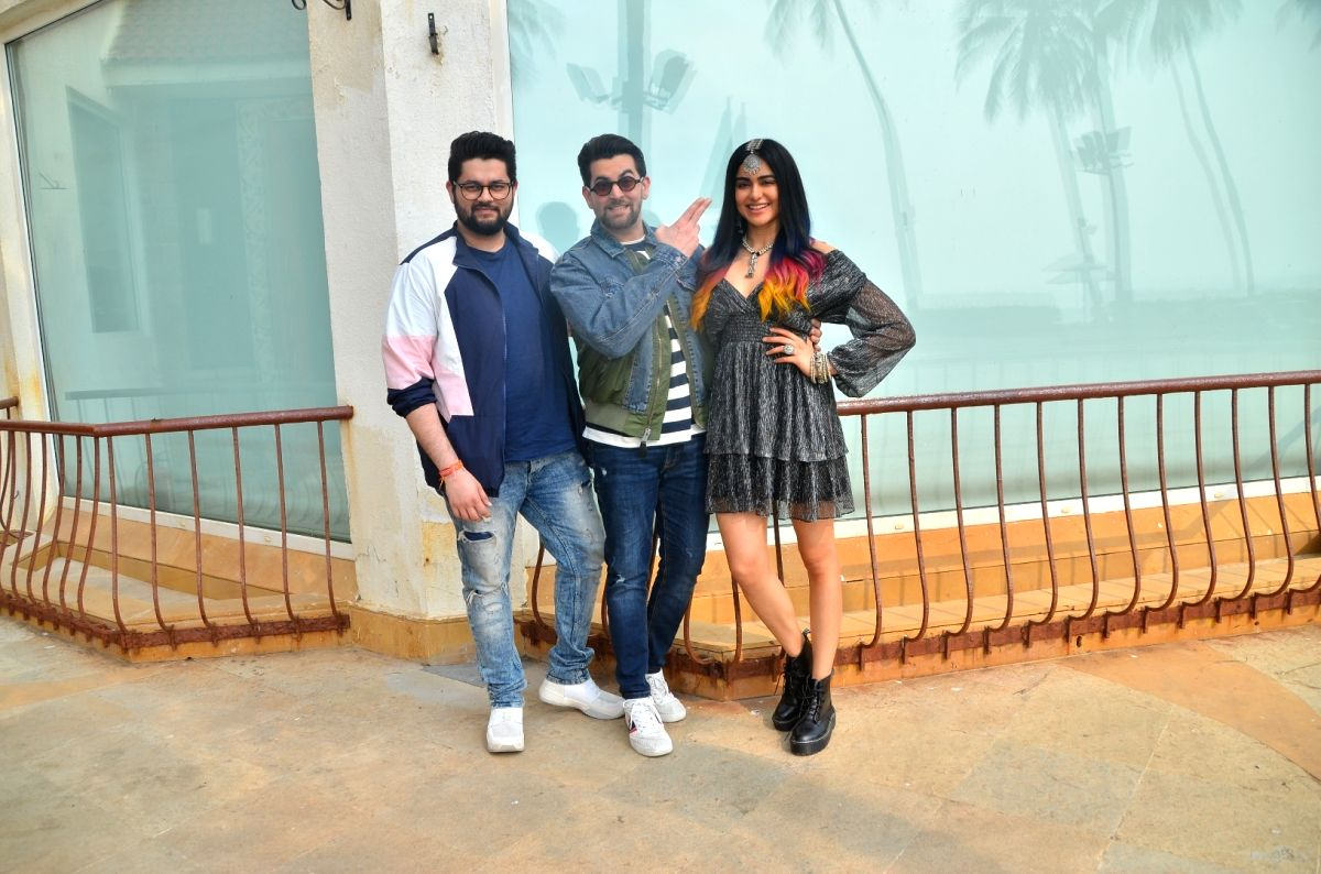 "Mumbai: Director Naman Nitin Mukesh and actors Neil Nitin Mukesh and Adah Sharma during the promotions of their upcoming film ""Bypass Road"" in Mumbai on Oct 16, 2019."