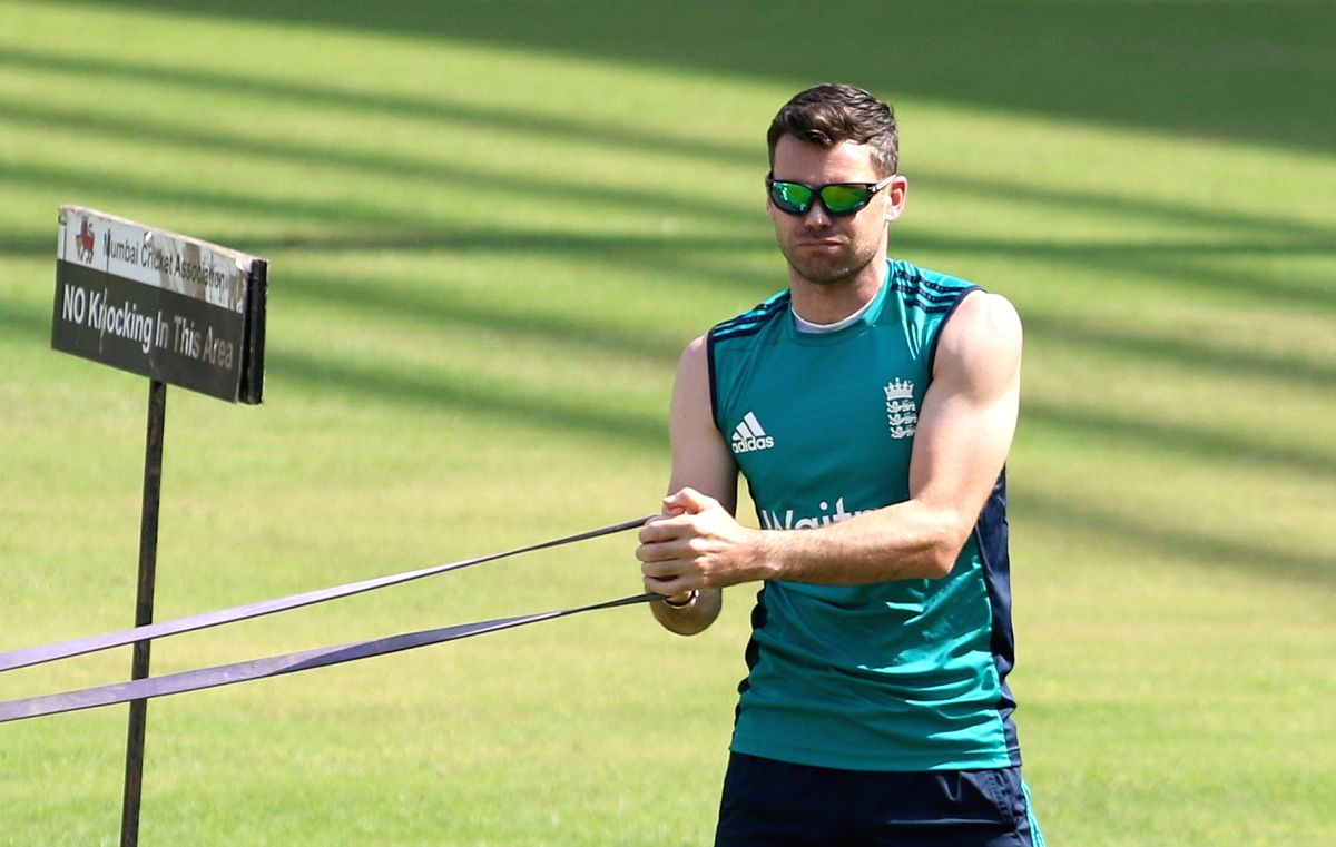 Mumbai: England's James Anderson during a practice session ahead of the fourth Test cricket match between India and England at the Wankhede Stadium in Mumbai on Dec 7, 2016. (Photo: Surjeet Yadav/IANS)