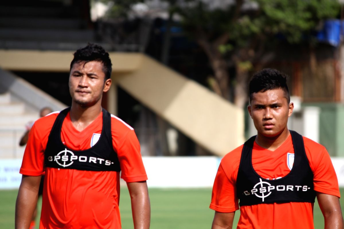 :Mumbai: Footballer Lalruatthara (L) during a practice session ahead of Intercontinental Cup, in Mumbai on May 21, 2018. .