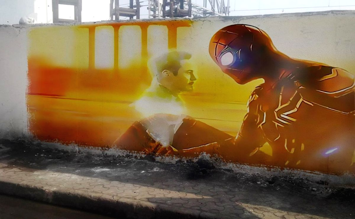 "In anticipation of Tom Holland's ""Spider-Man: Far From Home"" which is yet to release in India, students of art painted Spider-Man graffiti art on the streets of Mumbai last week."