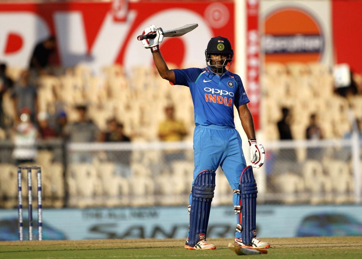India's Ambati Rayudu celebrates his century during the fourth ODI match between India and West Indies, at Brabourne Stadium in Mumbai