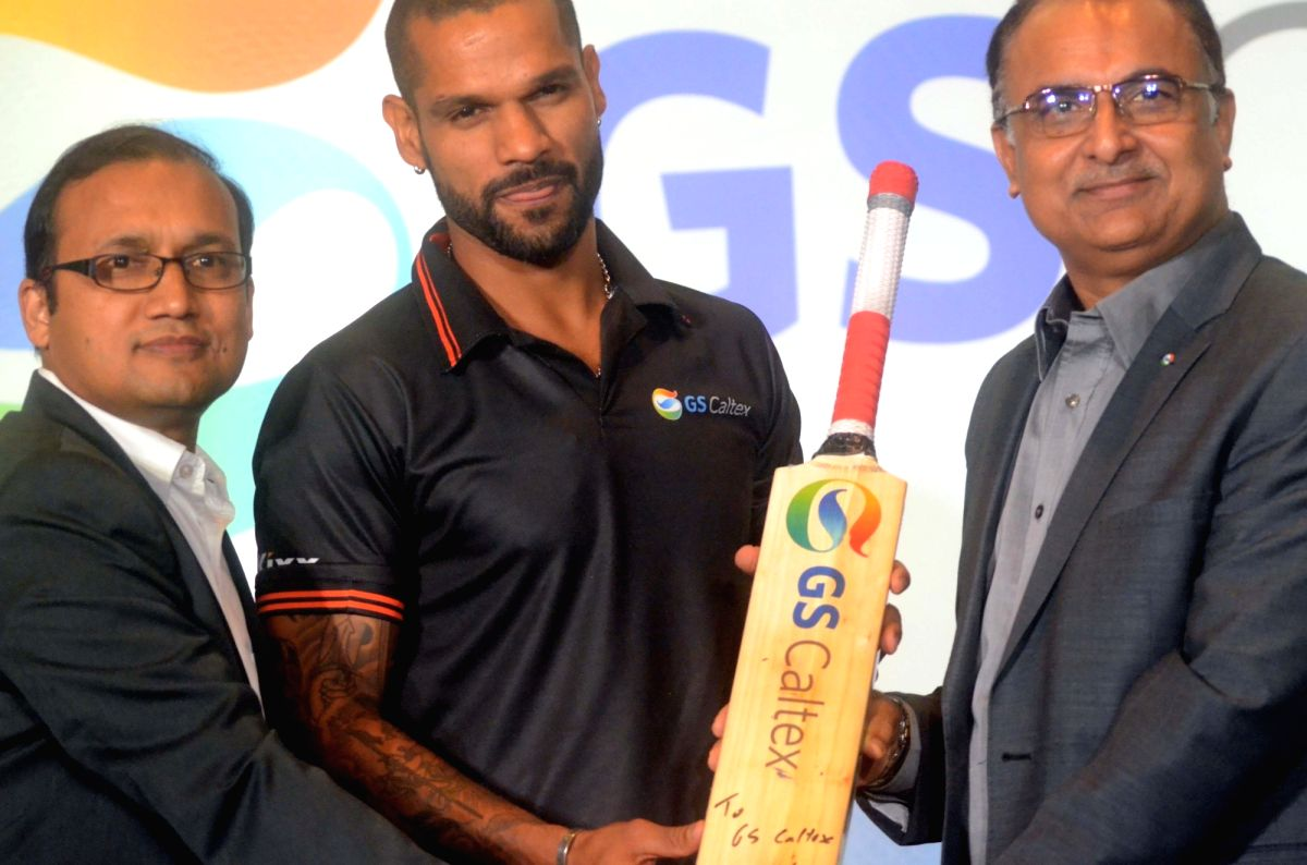 Indian cricketer Shikhar Dhawan during a programme organised by GS Caltex India to sign him as their brand ambassador in Mumbai