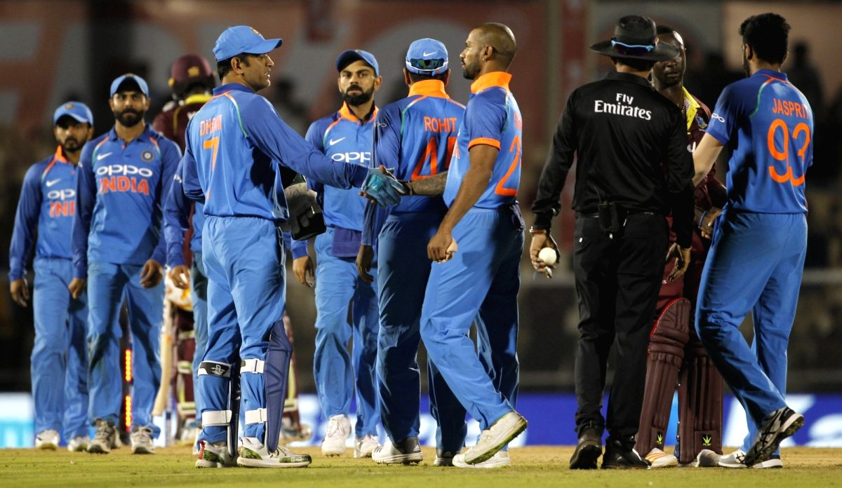 Mumbai: Indian players celebrate after winning the fourth ODI match against West Indies, at Brabourne Stadium in Mumbai