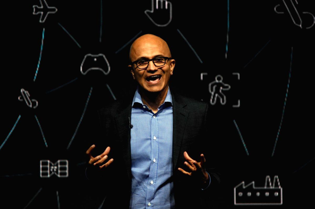 Mumbai: Microsoft CEO Satya Nadella addresses during the Microsoft CEO Summit in Mumbai on Feb 24, 2020.