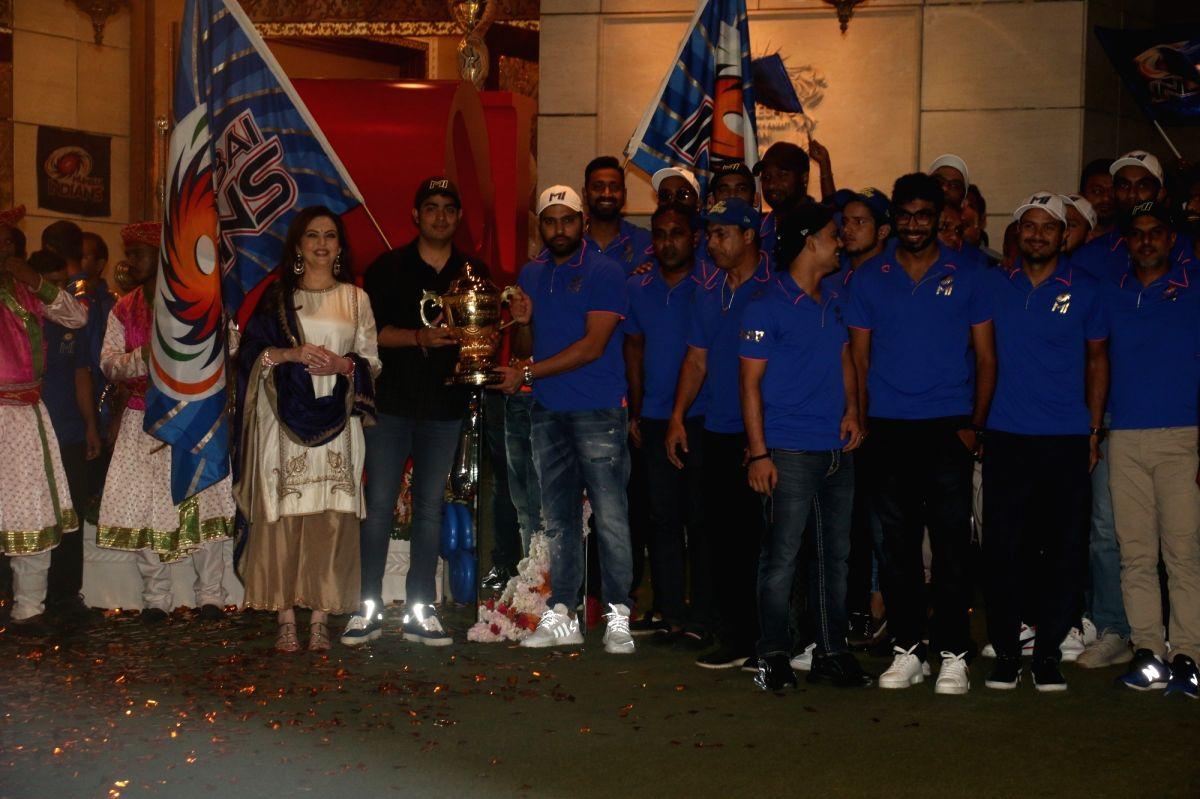 Mumbai: Mumbai Indians' co-owners Nita Ambani and Akash Ambani, celebrate the victory of their team in the recently concluded 2019 IPL, in Mumbai, on May 13, 2019.