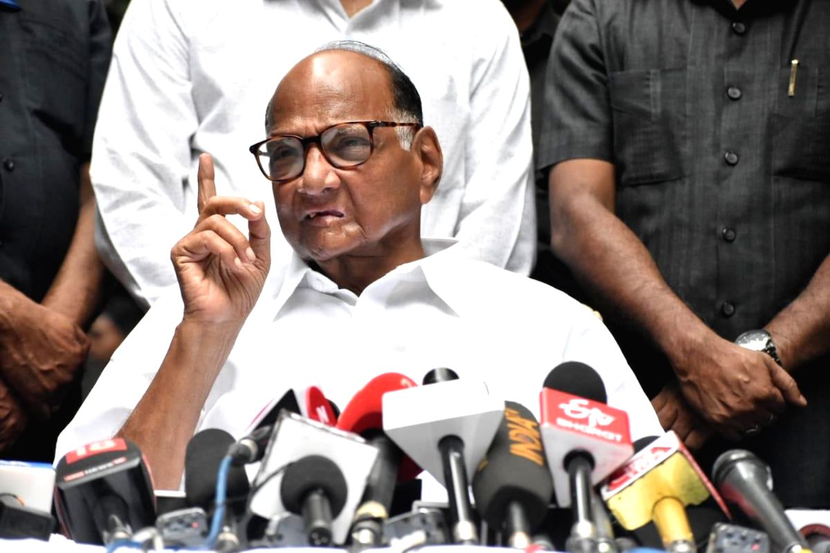 Mumbai: Nationalist Congress Party (NCP) chief Sharad Pawar addresses a press conference in Mumbai on Oct 24, 2019. The Opposition Congress-Nationalist Congress Party combine appeared all set to touch the 100-seat mark against the BJP-Sena count of 1