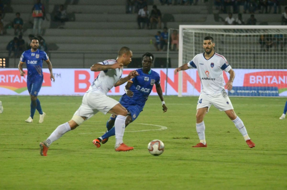 : Mumbai: Players in action during an ISL 2018 match between Delhi Dynamos FC and Mumbai City FC in Mumbai on Oct 27, 2018. .