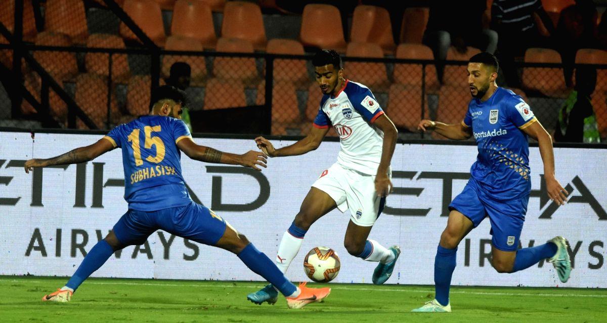 Mumbai: Players in action during ISL match between Mumbai City FC and Bengaluru FC at Andheri Sports Complex in Mumbai on Jan 17, 2020.