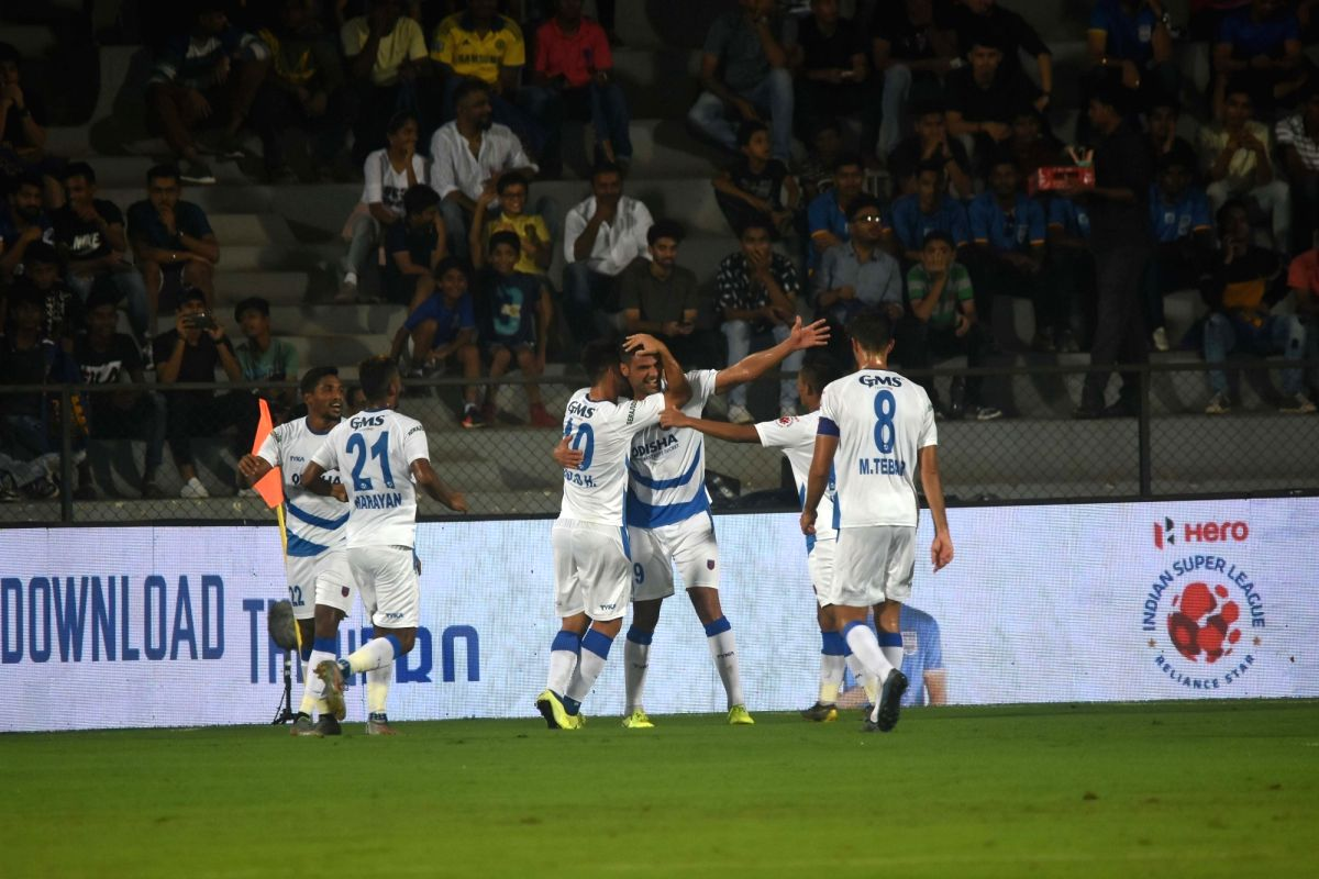 Mumbai: Players in action during the Indian Super League 2019-20 match between Mumbai City FC and Odisha FC in Mumbai on Oct 31, 2019.