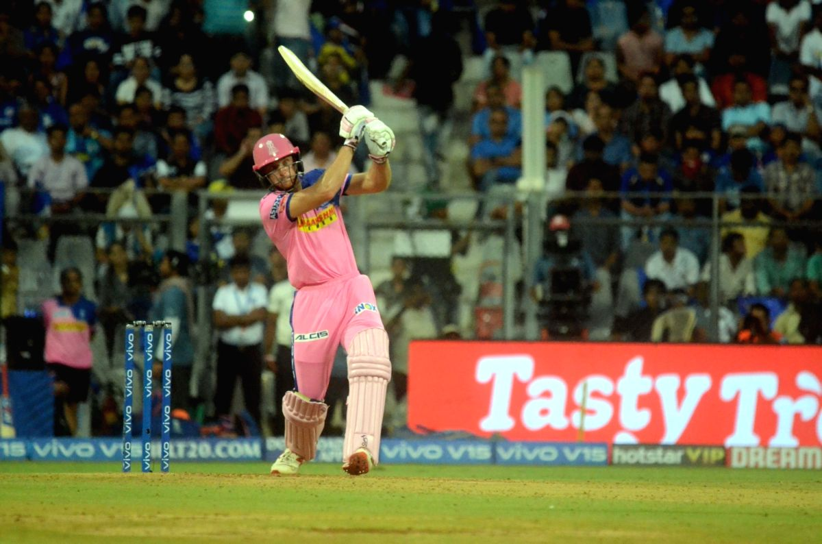 Mumbai: Rajasthan Royals' Jos Buttler in action during the 27th match of IPL 2019 between Mumbai Indians and Rajasthan Royals at Wankhede Stadium in Mumbai, on April 13, 2019. (Photo: Sandeep Mahankal/IANS)