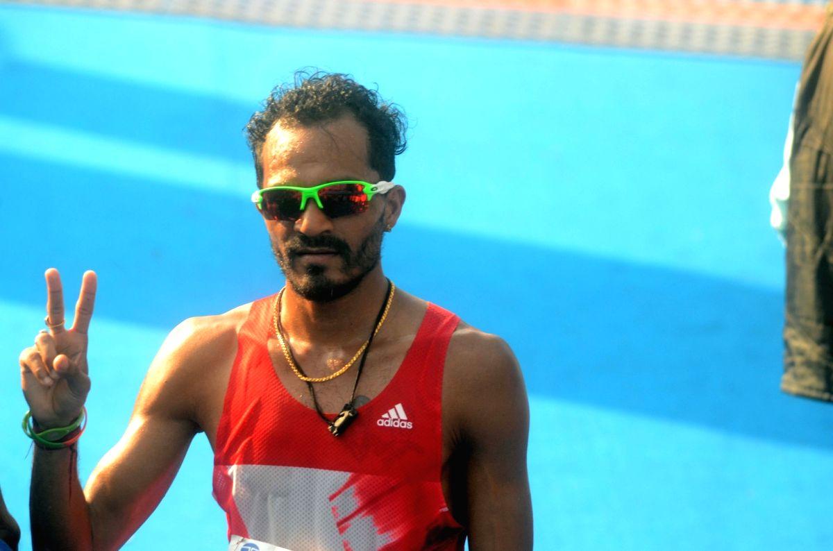 Mumbai: Second position holder of the Mumbai Marathon in Indian Men's Elite category Nitendra Singh Rawat after completing his run in Mumbai on Jan 21, 2018.