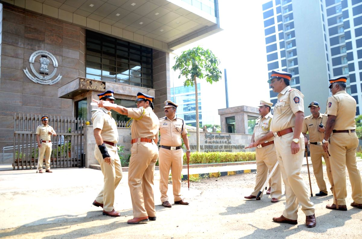 Mumbai: Security beefed up outside Central Bureau of Investigation (CBI) office in the wake of Congress protest against the central government's move to strip CBI Director Alok Verma of his power in Mumbai, on Oct 26, 2018.