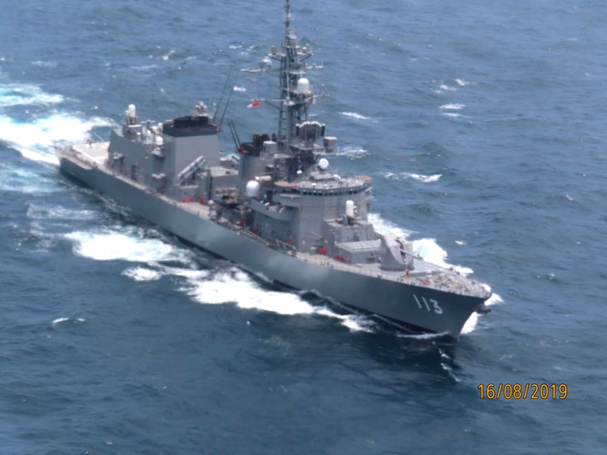 Mumbai: The Japanese warship, JMSDF Sazanami where a sailor on board got injured and was flown by Indian Navy helicopter to Santacruz from Arabian Sea, 234 Km off Mumbai, on Aug 16, 2019.  Later, the Japan Consulate in Mumbai admitted him to a local