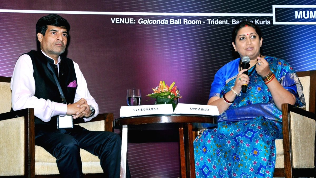 :Mumbai: Union Textiles Minister Smriti Irani addresses at the Young Thinkers' Conference in Mumbai, on Oct 23, 2018. (Photo: IANS/PIB).