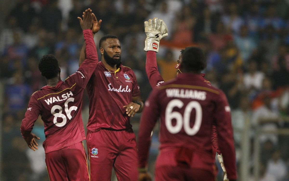 Mumbai: West Indies captain Kieron Pollard celebrates the wicket of Rishabh Pant during the third T20I match between India and West Indies at Wankhede Stadium in Mumbai on Dec 11, 2019. (Photo: Surjeet Yadav/IANS)